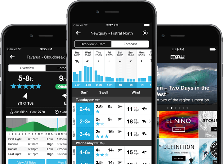 Mobile apps for surfers