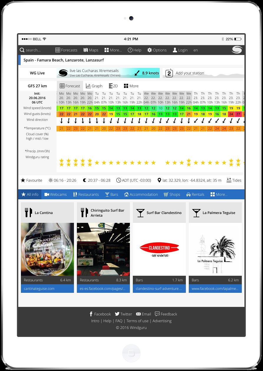 Mobile apps for surfers windguru